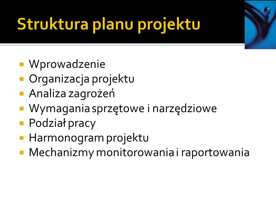 Wprowadzenie Organizacja projektu Analiza zagrożeń Wymagania sprzętowe i narzędziowe Podział pracy Harmonogram projektu Mechanizmy monitorowania i rap