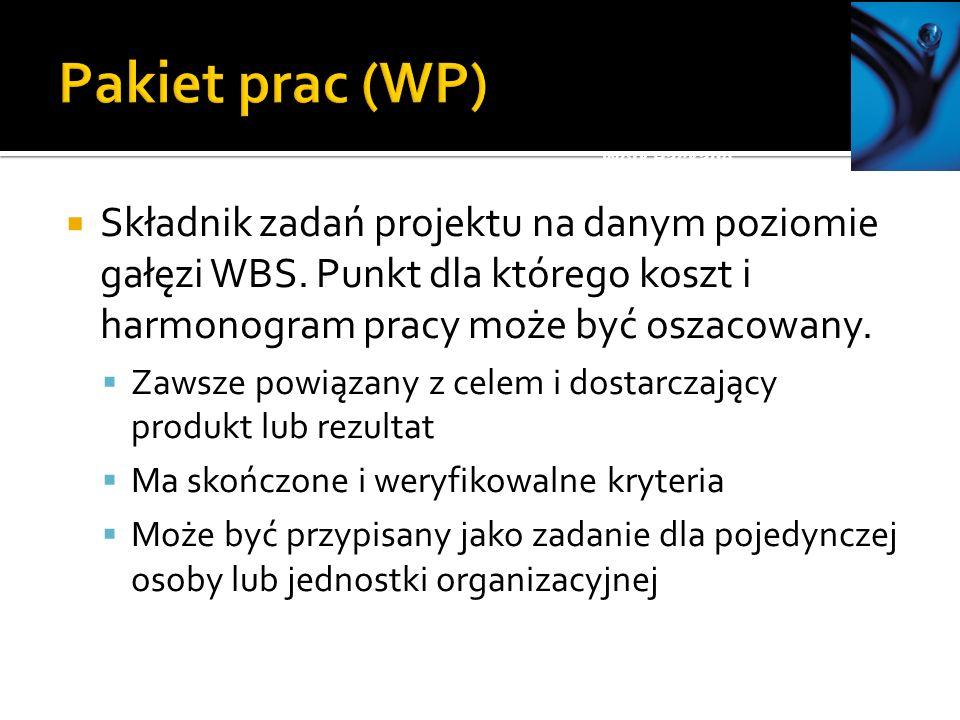 Składnik zadań projektu na danym poziomie gałęzi WBS.