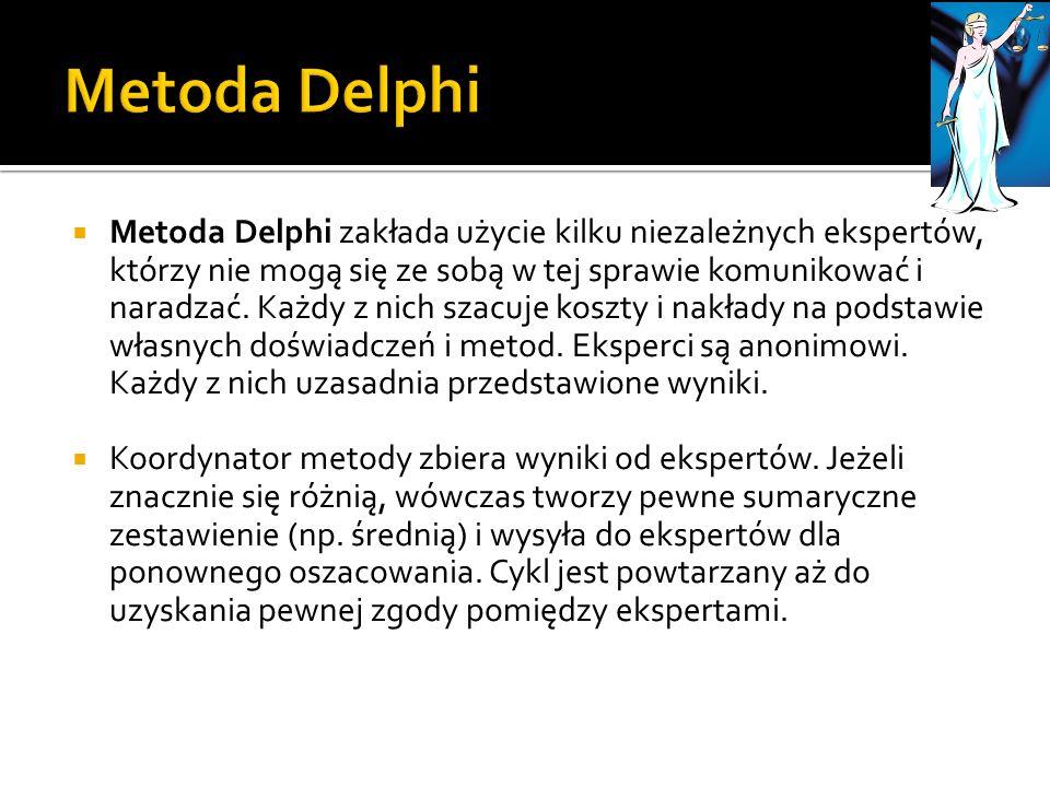 Metoda Delphi zakłada użycie kilku niezależnych ekspertów, którzy nie mogą się ze sobą w tej sprawie komunikować i naradzać. Każdy z nich szacuje kosz