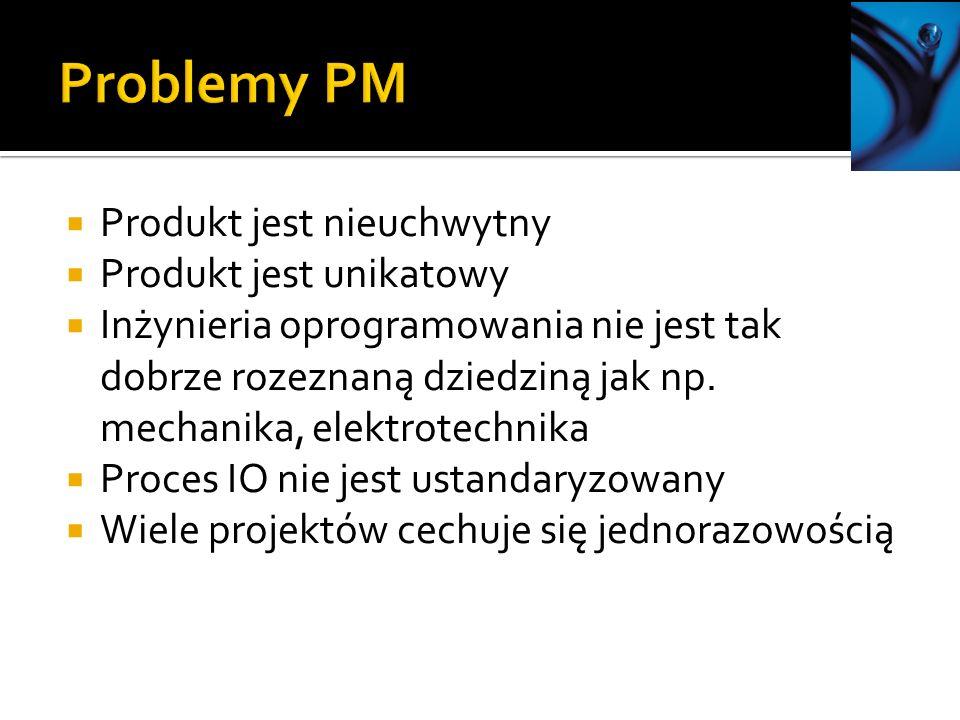 Produkt jest nieuchwytny Produkt jest unikatowy Inżynieria oprogramowania nie jest tak dobrze rozeznaną dziedziną jak np. mechanika, elektrotechnika P