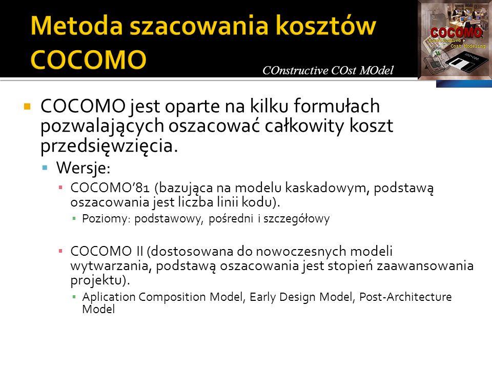 COCOMO jest oparte na kilku formułach pozwalających oszacować całkowity koszt przedsięwzięcia. Wersje: COCOMO81 (bazująca na modelu kaskadowym, podsta