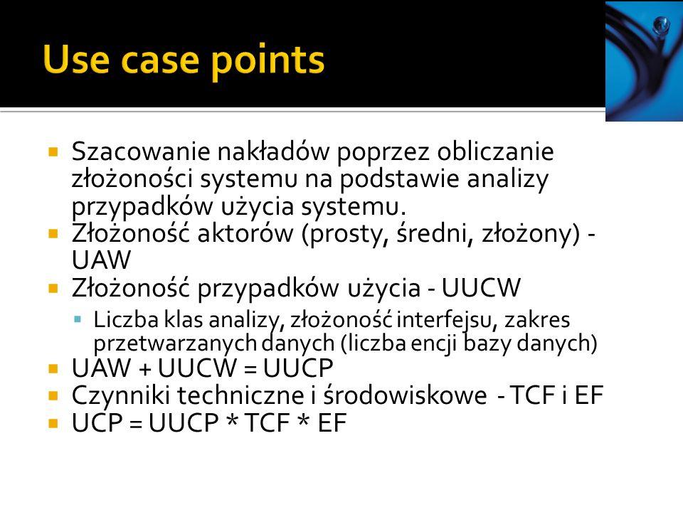 Szacowanie nakładów poprzez obliczanie złożoności systemu na podstawie analizy przypadków użycia systemu.