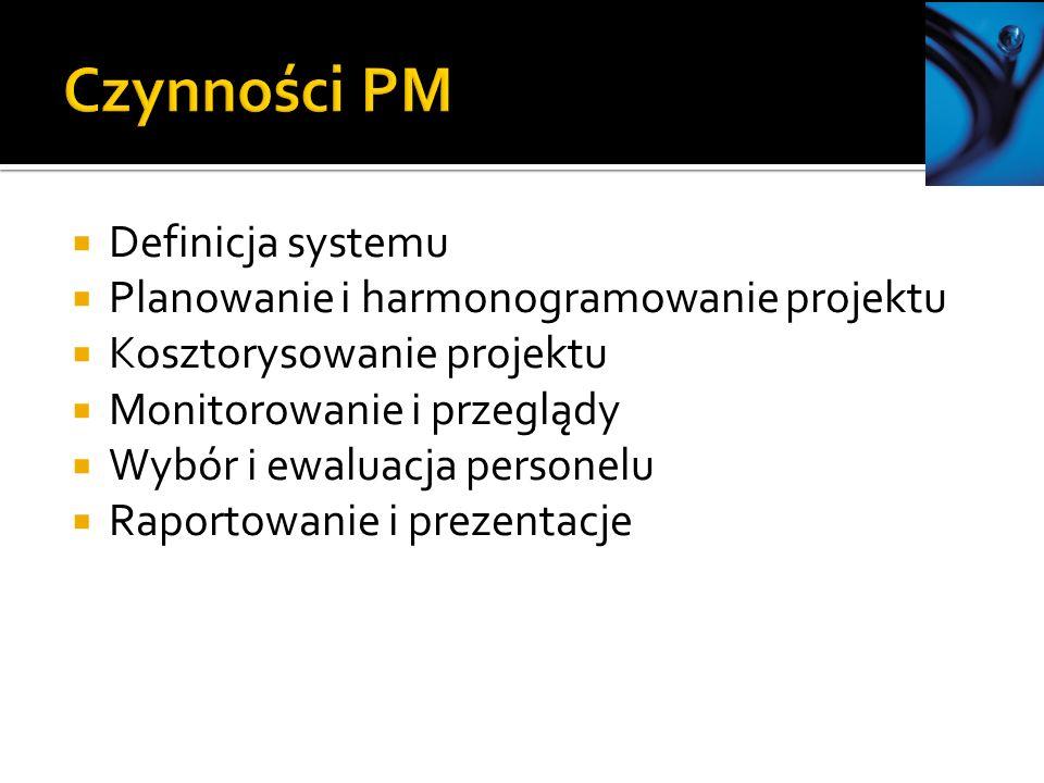 Definicja systemu Planowanie i harmonogramowanie projektu Kosztorysowanie projektu Monitorowanie i przeglądy Wybór i ewaluacja personelu Raportowanie i prezentacje