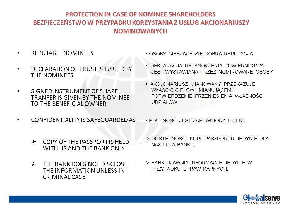 PROTECTION IN CASE OF NOMINEE SHAREHOLDERS W PRZYPADKU KORZYSTANIA Z USŁUG AKCJONARIUSZY NOMINOWANYCH PROTECTION IN CASE OF NOMINEE SHAREHOLDERS BEZPI