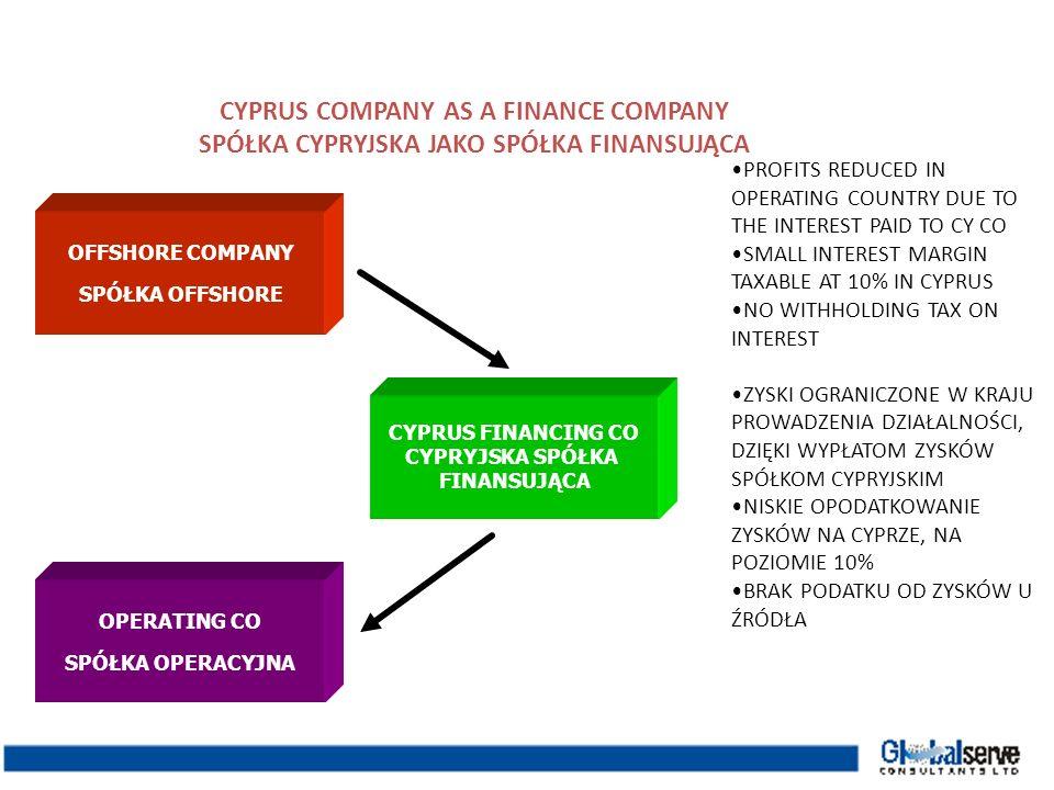 Operating Polish co Polska spółka operacyjna CYPRUS CO AS A ROYALTY COMPANY CYPRYJSKA SPÓŁKA JAKO WŁAŚCICIEL PRAW Plan: Parent co establishes Cyprus royalty co to collect royalties from Polish co Benefits: No WHT on royalty from Polish to Cy co Tax on profit 10% in Cyprus on the net amount of the royalty income Royalty is deducted from taxable profit in paying company No WHT on royalty from Cyprus to the parent co or another franchisor Plan: Spółka macierzysta tworzy cypryjską spółkę posiadającą określone prawo, w celu pobierania wynagrodzenia za korzystanie z niego praw od polskich spółek Korzyści: Brak podatku u źródła przy pobieraniu wynagrodzenia z tytułu korzystania z praw; 10 % podatku od zysku na Cyprze netto z tytułu wynagrodzenia za korzystanie z praw; Wynagrodzenie za korzystanie z praw jest potrącane od opodatkowanego zysku spółki płacącej; Brak podatku od wynagrodzeń z tytułu korzystania z praw dla macierzystej spółki lub udzielającego franczyzy.