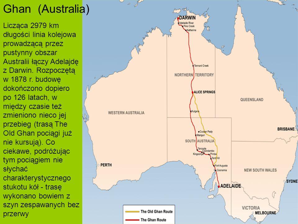 Licząca 2979 km długości linia kolejowa prowadzącą przez pustynny obszar Australii łączy Adelajdę z Darwin.
