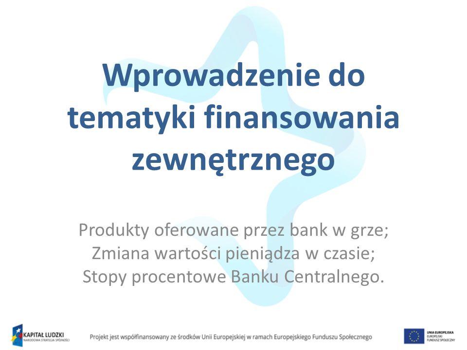 Wprowadzenie do tematyki finansowania zewnętrznego Produkty oferowane przez bank w grze; Zmiana wartości pieniądza w czasie; Stopy procentowe Banku Ce