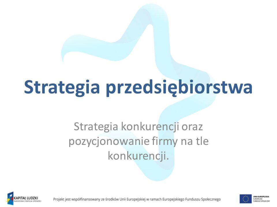 Definicja strategii przedsiębiorstwa Strategia przedsiębiorstwa to zespół skoordynowanych, dostosowanych do sytuacji firmy oraz otoczenia, sposobów osiągnięcia celów tego przedsiębiorstwa Źródło: Pierścionek, Z., 1998, Strategie Rozwoju Firmy, Wydawnictwo Naukowe PWN, Warszawa