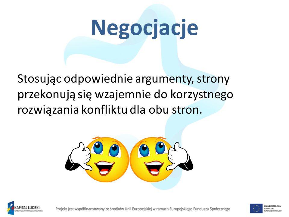 Negocjacje Stosując odpowiednie argumenty, strony przekonują się wzajemnie do korzystnego rozwiązania konfliktu dla obu stron.