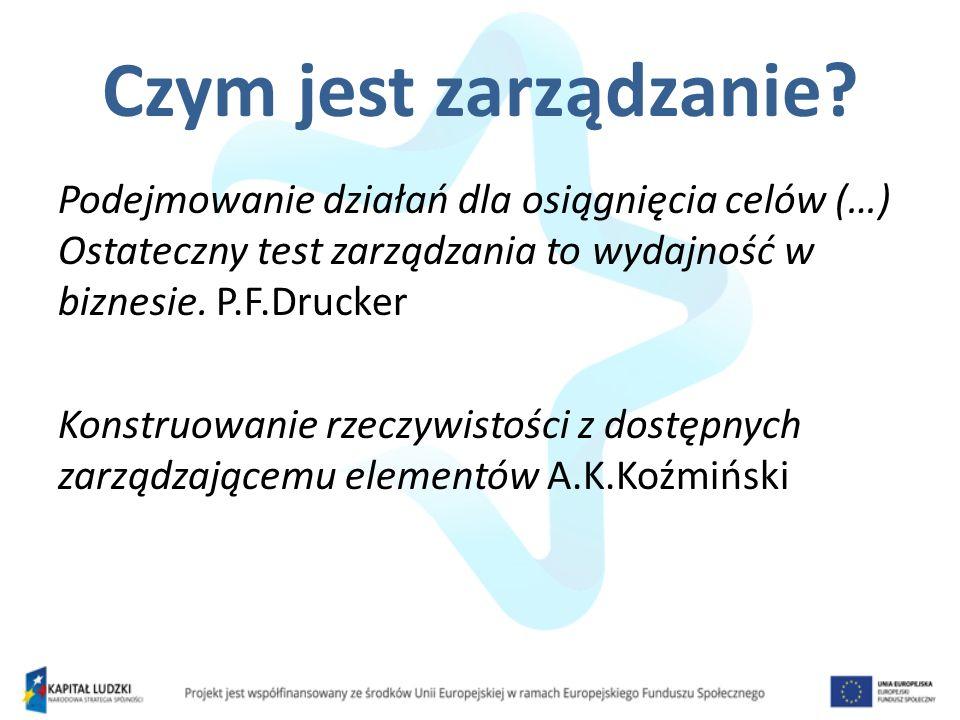 Czym jest zarządzanie? Podejmowanie działań dla osiągnięcia celów (…) Ostateczny test zarządzania to wydajność w biznesie. P.F.Drucker Konstruowanie r