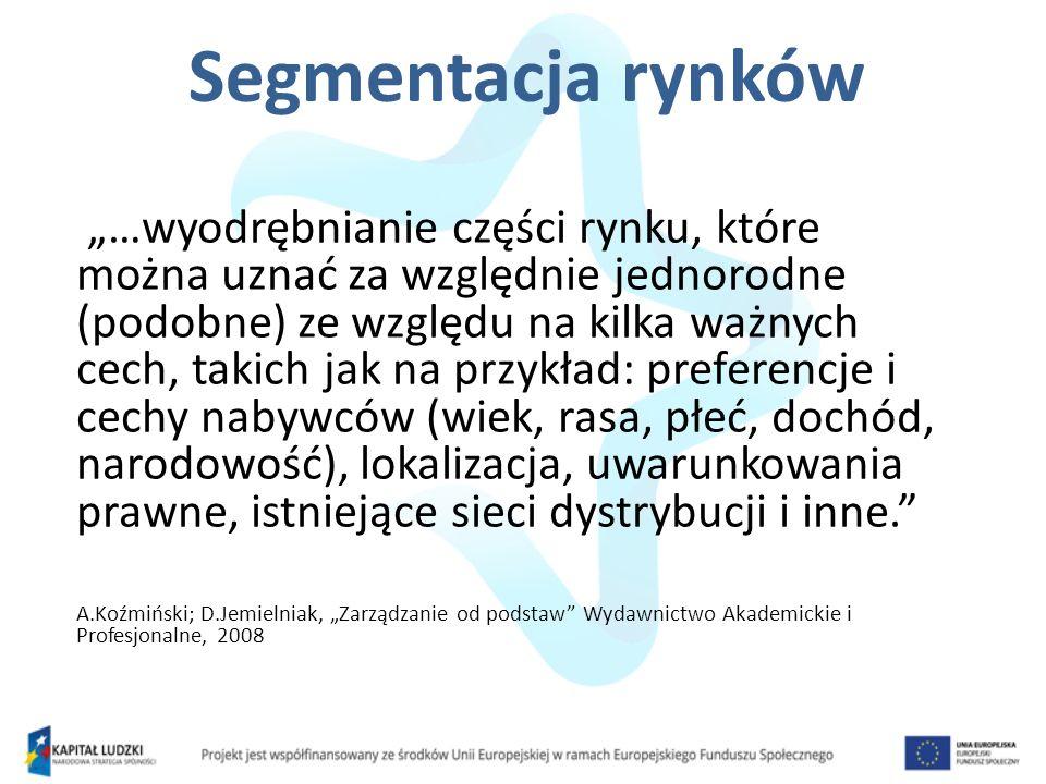 Geograficzne Demograficzne Społeczno-ekonomiczne Psychologiczne Behawioralne A.Koźmiński; D.Jemielniak, Zarządzanie od podstaw Wydawnictwo Akademickie i Profesjonalne, 2008 Kryteria segmentacji