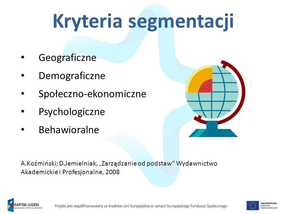 Geograficzne Demograficzne Społeczno-ekonomiczne Psychologiczne Behawioralne A.Koźmiński; D.Jemielniak, Zarządzanie od podstaw Wydawnictwo Akademickie