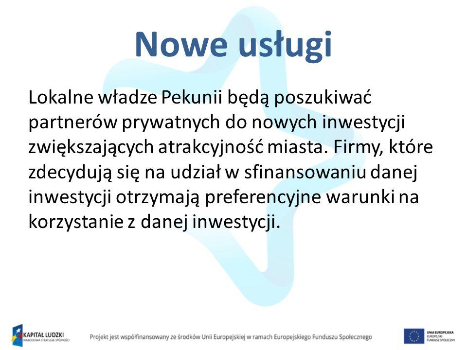 Nowe usługi Lokalne władze Pekunii będą poszukiwać partnerów prywatnych do nowych inwestycji zwiększających atrakcyjność miasta. Firmy, które zdecyduj