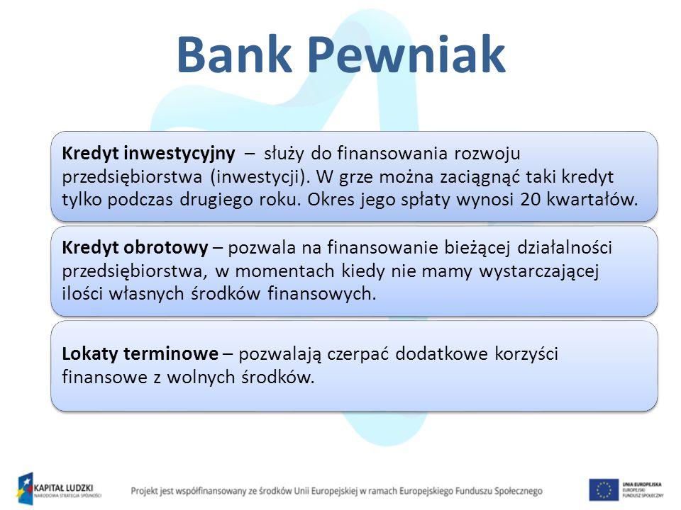 Bank Pewniak Kredyt inwestycyjny – służy do finansowania rozwoju przedsiębiorstwa (inwestycji). W grze można zaciągnąć taki kredyt tylko podczas drugi
