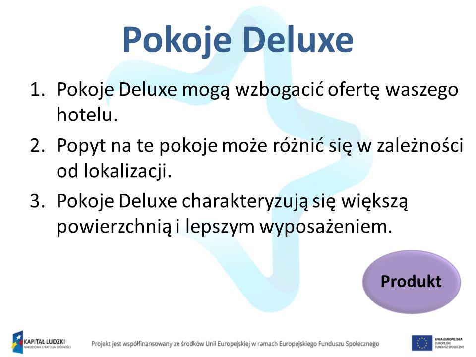 Pokoje Deluxe 1.Pokoje Deluxe mogą wzbogacić ofertę waszego hotelu. 2.Popyt na te pokoje może różnić się w zależności od lokalizacji. 3.Pokoje Deluxe
