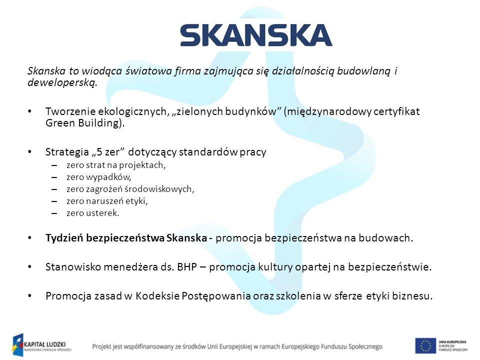 Skanska to wiodąca światowa firma zajmująca się działalnością budowlaną i deweloperską.