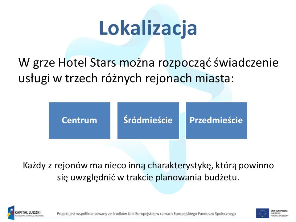 Lokalizacja W grze Hotel Stars można rozpocząć świadczenie usługi w trzech różnych rejonach miasta: Każdy z rejonów ma nieco inną charakterystykę, któ