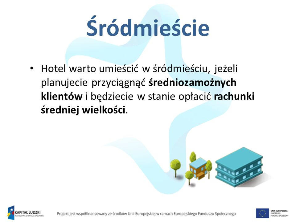 Śródmieście Hotel warto umieścić w śródmieściu, jeżeli planujecie przyciągnąć średniozamożnych klientów i będziecie w stanie opłacić rachunki średniej
