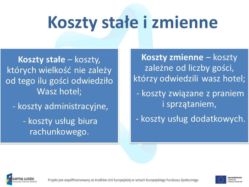Koszty stałe i zmienne Koszty stałe – koszty, których wielkość nie zależy od tego ilu gości odwiedziło Wasz hotel; - koszty administracyjne, - koszty