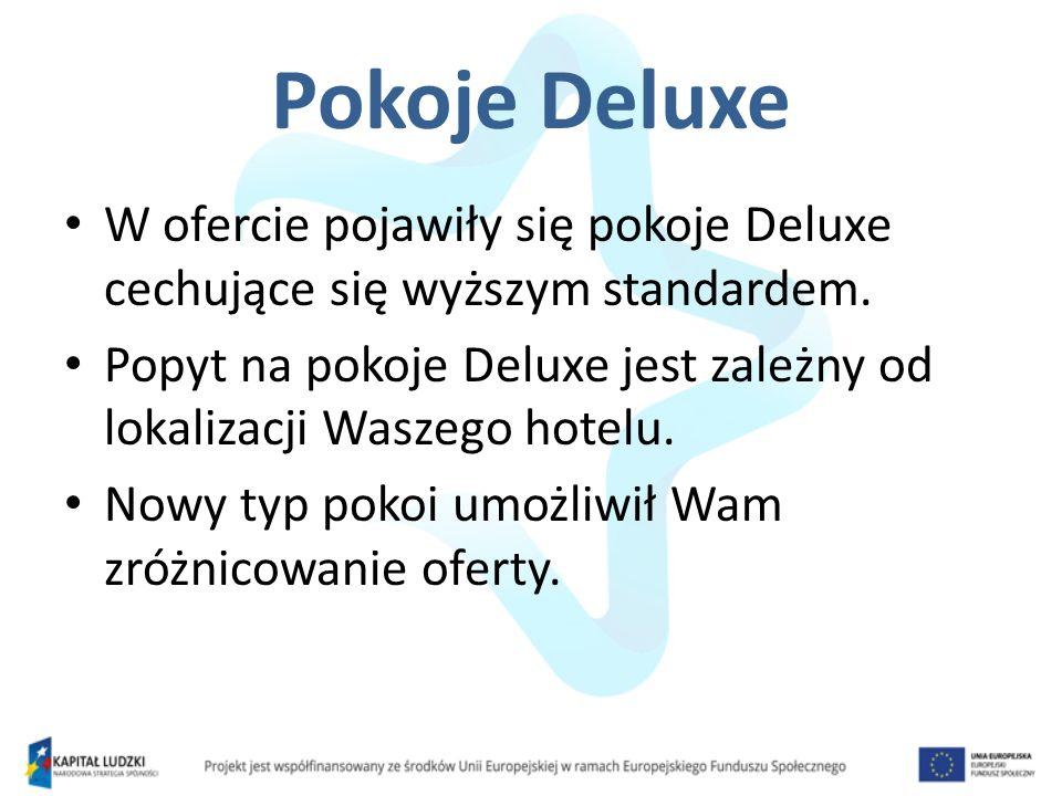 Pokoje Deluxe W ofercie pojawiły się pokoje Deluxe cechujące się wyższym standardem. Popyt na pokoje Deluxe jest zależny od lokalizacji Waszego hotelu