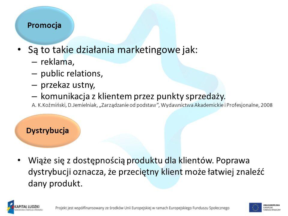 Są to takie działania marketingowe jak: – reklama, – public relations, – przekaz ustny, – komunikacja z klientem przez punkty sprzedaży. A. K.Koźmińsk