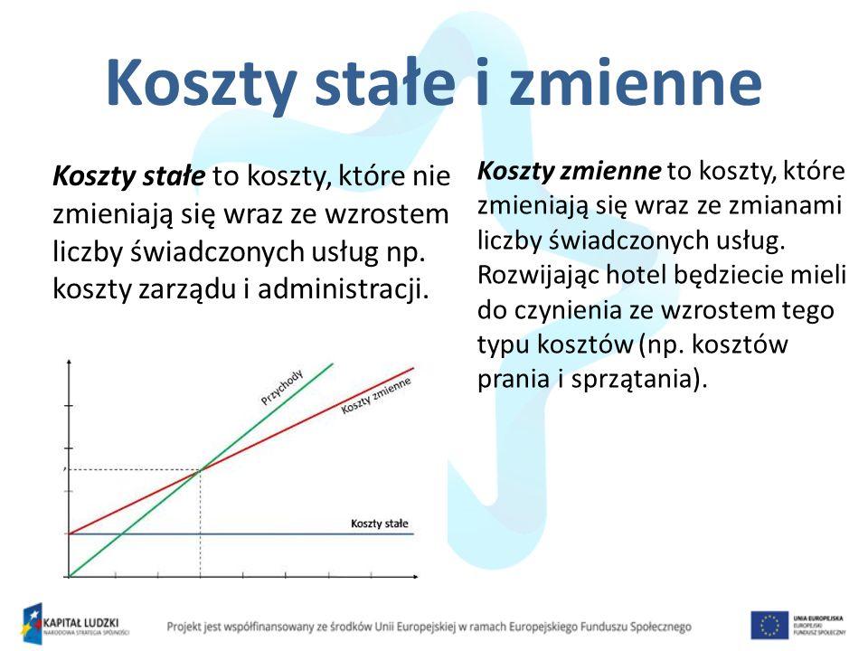 Koszty stałe i zmienne Koszty stałe to koszty, które nie zmieniają się wraz ze wzrostem liczby świadczonych usług np.