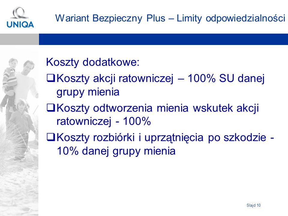 Slajd 10 Wariant Bezpieczny Plus – Limity odpowiedzialności Koszty dodatkowe: Koszty akcji ratowniczej – 100% SU danej grupy mienia Koszty odtworzenia