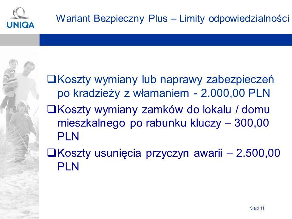 Slajd 11 Wariant Bezpieczny Plus – Limity odpowiedzialności Koszty wymiany lub naprawy zabezpieczeń po kradzieży z włamaniem - 2.000,00 PLN Koszty wym