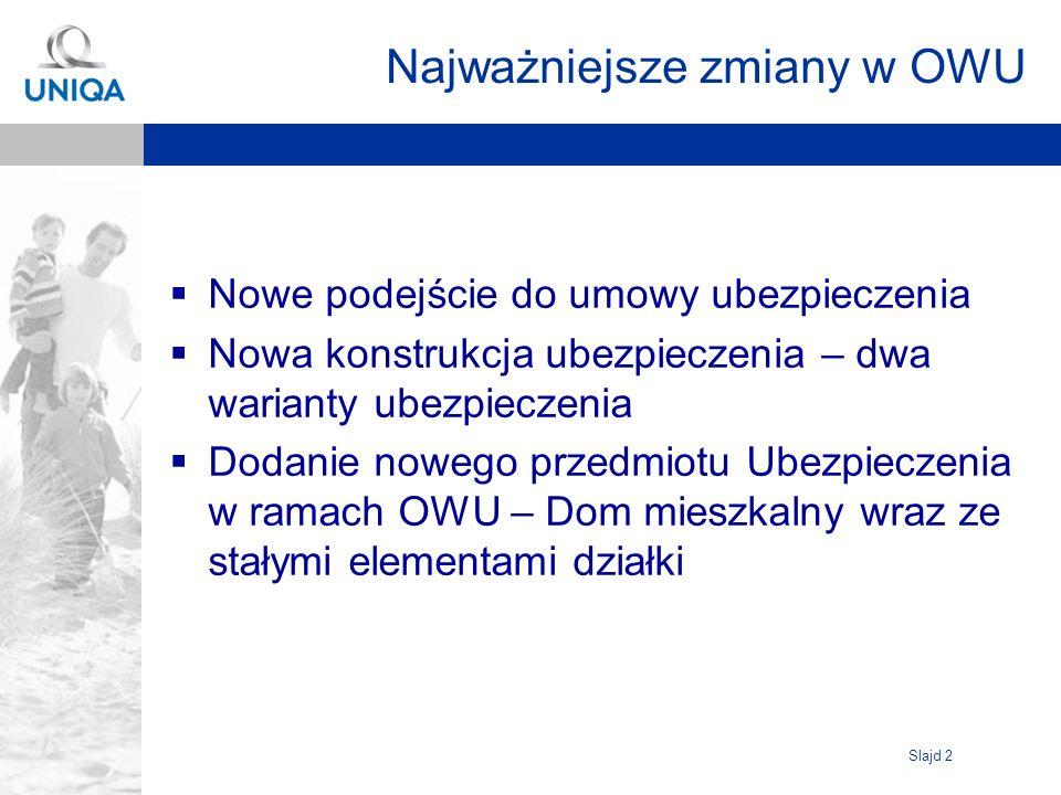 Slajd 2 Najważniejsze zmiany w OWU Nowe podejście do umowy ubezpieczenia Nowa konstrukcja ubezpieczenia – dwa warianty ubezpieczenia Dodanie nowego przedmiotu Ubezpieczenia w ramach OWU – Dom mieszkalny wraz ze stałymi elementami działki