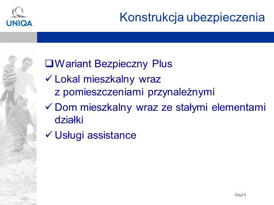 Slajd 7 Wariant Bezpieczny – Limity odpowiedzialności Wariant Bezpieczny = Wariant II OWU mieszkań przy czynszu + Koszty odtworzenia mienia wskutek akcji ratowniczej - 100% SU