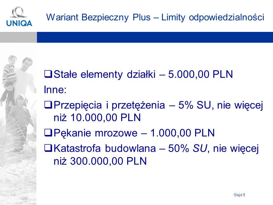 Slajd 8 Wariant Bezpieczny Plus – Limity odpowiedzialności Stałe elementy działki – 5.000,00 PLN Inne: Przepięcia i przetężenia – 5% SU, nie więcej ni