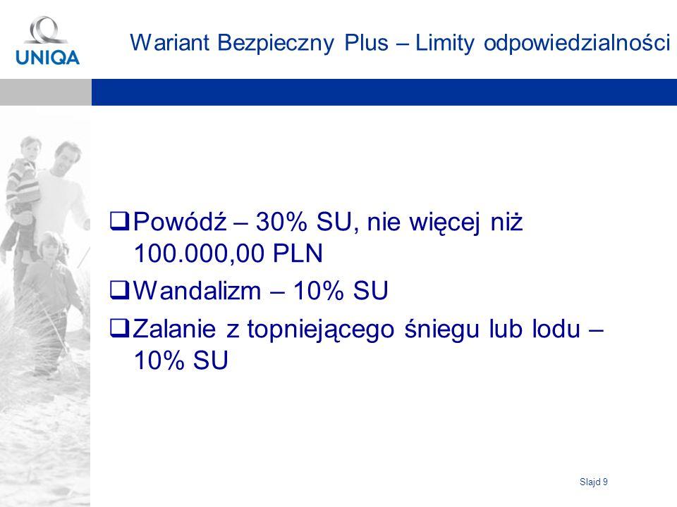 Slajd 9 Wariant Bezpieczny Plus – Limity odpowiedzialności Powódź – 30% SU, nie więcej niż 100.000,00 PLN Wandalizm – 10% SU Zalanie z topniejącego śniegu lub lodu – 10% SU