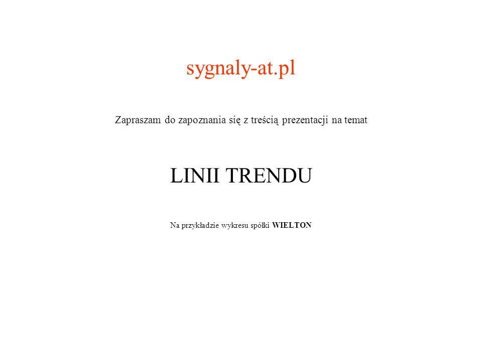 sygnaly-at.pl Zapraszam do zapoznania się z treścią prezentacji na temat LINII TRENDU Na przykładzie wykresu spółki WIELTON