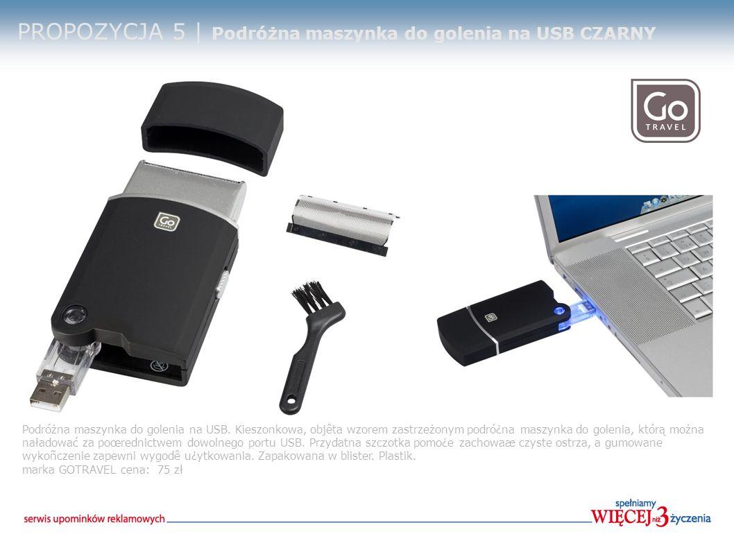 PROPOZYCJA 5 | Podróżna maszynka do golenia na USB CZARNY Podróżna maszynka do golenia na USB.