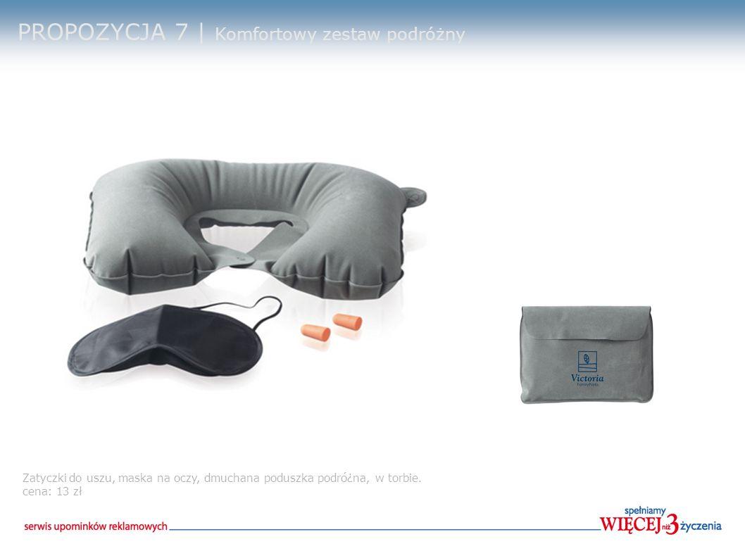 PROPOZYCJA 7 | Komfortowy zestaw podróżny Zatyczki do uszu, maska na oczy, dmuchana poduszka podró¿na, w torbie.
