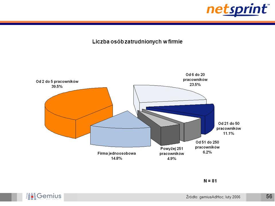 56 Liczba osób zatrudnionych w firmie Źródło: gemiusAdHoc; luty 2006