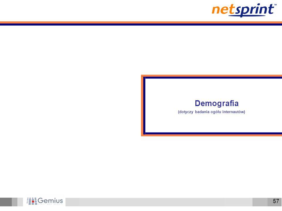 57 Demografia (dotyczy badania ogółu internautów)