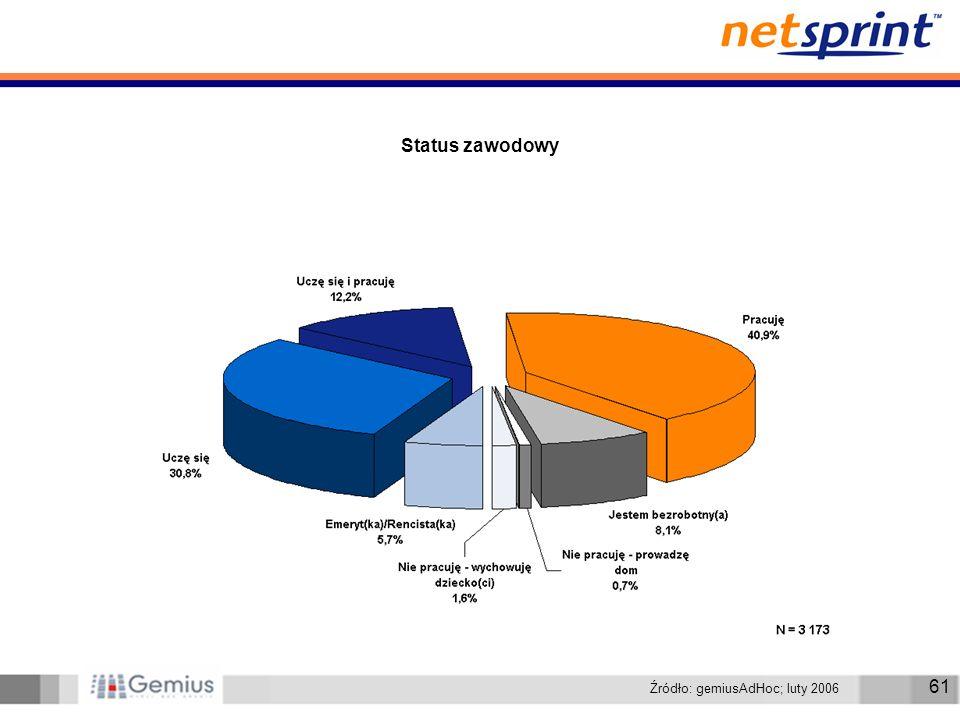 61 Status zawodowy Źródło: gemiusAdHoc; luty 2006