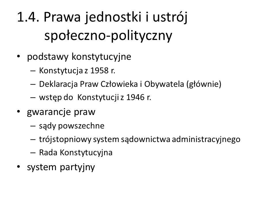 1.4. Prawa jednostki i ustrój społeczno-polityczny podstawy konstytucyjne – Konstytucja z 1958 r. – Deklaracja Praw Człowieka i Obywatela (głównie) –