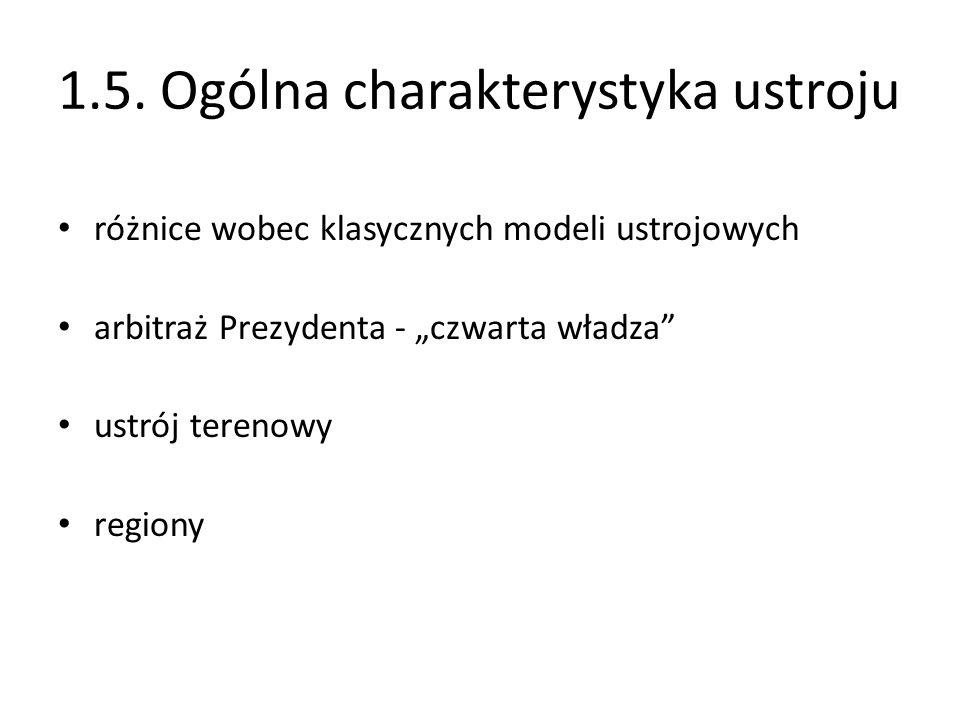 1.5. Ogólna charakterystyka ustroju różnice wobec klasycznych modeli ustrojowych arbitraż Prezydenta - czwarta władza ustrój terenowy regiony
