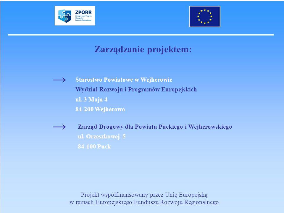 Projekt współfinansowany przez Unię Europejską w ramach Europejskiego Funduszu Rozwoju Regionalnego Zarządzanie projektem: Starostwo Powiatowe w Wejhe