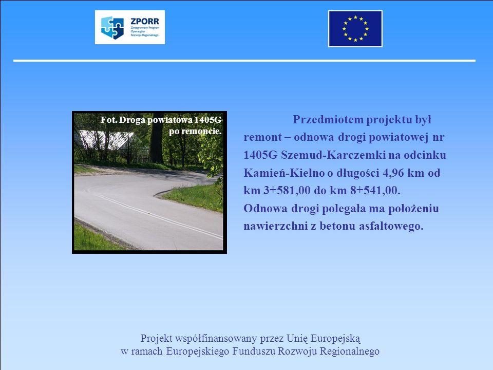 Przedmiotem projektu był remont – odnowa drogi powiatowej nr 1405G Szemud-Karczemki na odcinku Kamień-Kielno o długości 4,96 km od km 3+581,00 do km 8