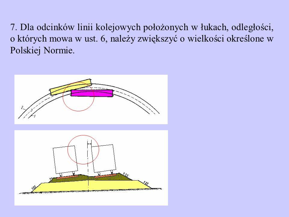 skrajnia na prostej a)2,50 m - gdy prędkość pociągów nie przekracza 160 km/h, b)2,60 m - gdy prędkość pociągów jest większa niż 160 km/h, c)2,70 m - w