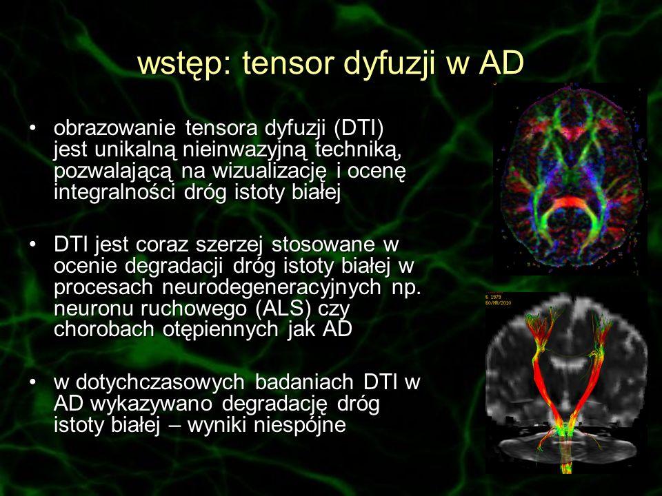 wstęp: tensor dyfuzji w AD obrazowanie tensora dyfuzji (DTI) jest unikalną nieinwazyjną techniką, pozwalającą na wizualizację i ocenę integralności dr