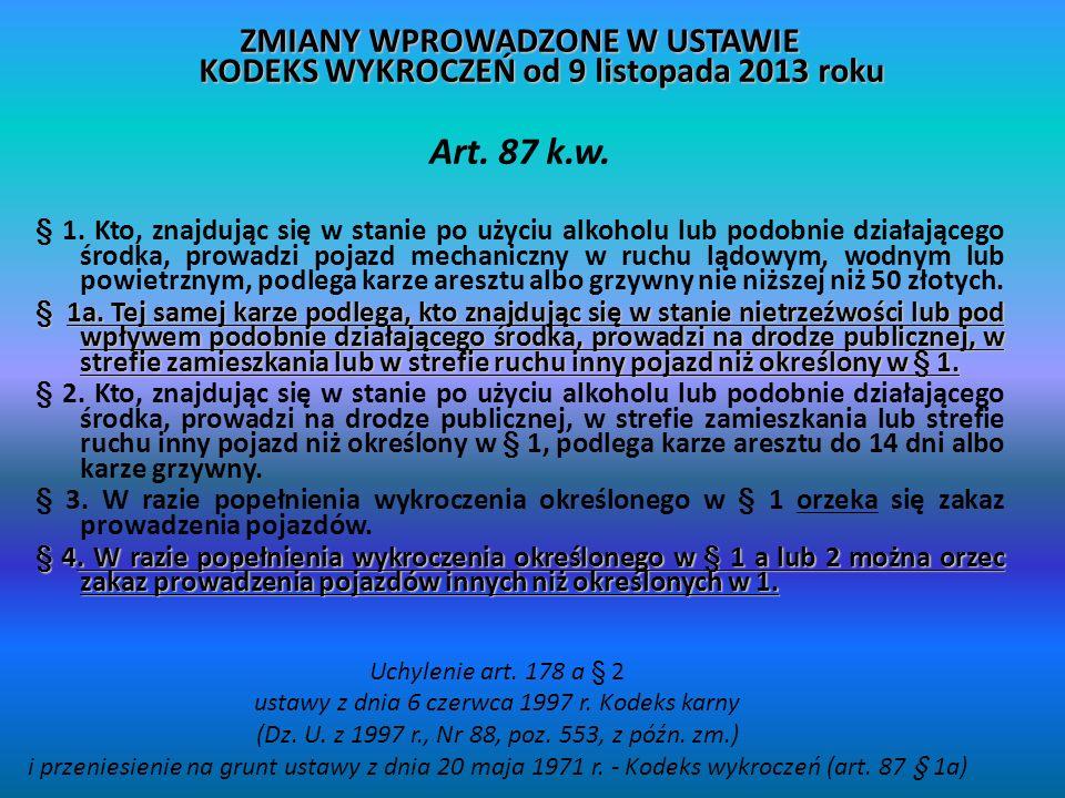 ZMIANY WPROWADZONE W USTAWIE KODEKS WYKROCZEŃ od 9 listopada 2013 roku Art.