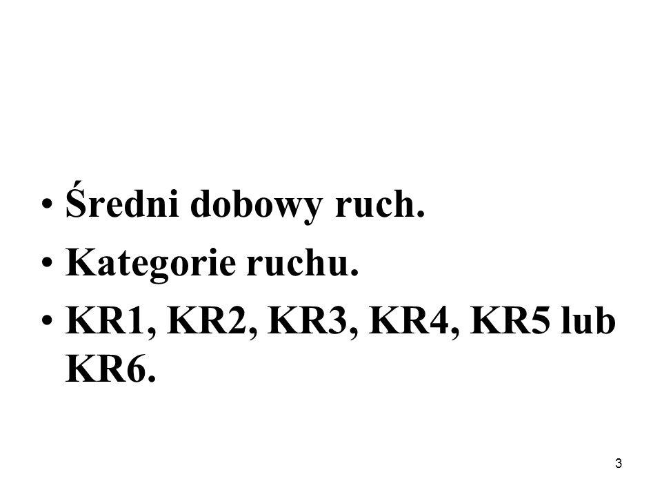 Średni dobowy ruch. Kategorie ruchu. KR1, KR2, KR3, KR4, KR5 lub KR6. 3