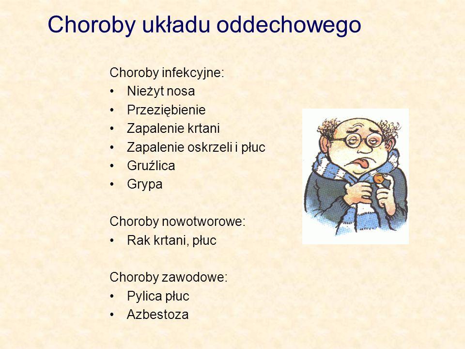 Choroby układu oddechowego Choroby infekcyjne: Nieżyt nosa Przeziębienie Zapalenie krtani Zapalenie oskrzeli i płuc Gruźlica Grypa Choroby nowotworowe