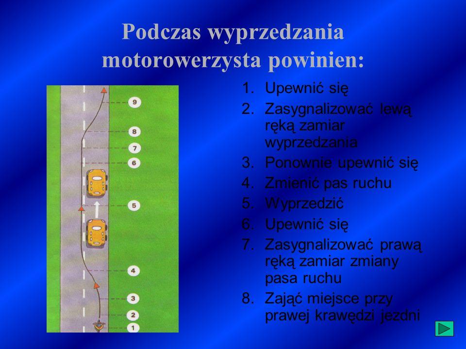 WYPRZEDZANIE Wyprzedzanie jest to manewr drogowy zachodzący wówczas, gdy obydwa pojazdy są w ruchu, poruszają się w tym samym kierunku, a pojazd jadący z tyłu zwiększa swoją prędkość, zjeżdża na lewą stronę pojazdu wyprzedzanego i wraca na swój pas, ale już jako pierwszy ( przed pojazd wyprzedzany ).