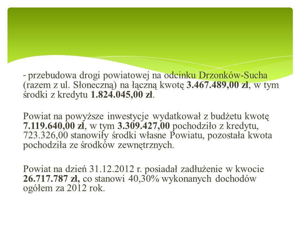 - przebudowa drogi powiatowej na odcinku Drzonków-Sucha (razem z ul.
