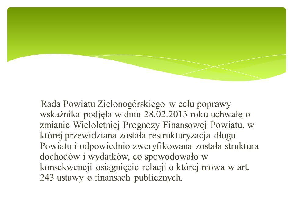 Rada Powiatu Zielonogórskiego w celu poprawy wskaźnika podjęła w dniu 28.02.2013 roku uchwałę o zmianie Wieloletniej Prognozy Finansowej Powiatu, w której przewidziana została restrukturyzacja długu Powiatu i odpowiednio zweryfikowana została struktura dochodów i wydatków, co spowodowało w konsekwencji osiągnięcie relacji o której mowa w art.